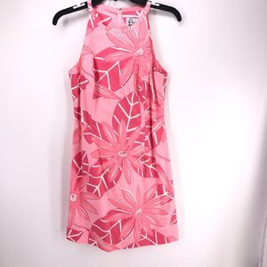 Lilly Pulitzer Pink Floral Leaf Sheath Sleeveless
